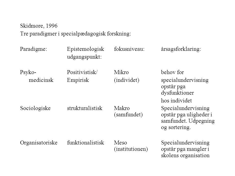 Skidmore, 1996 Tre paradigmer i specialpædagogisk forskning: Paradigme: Epistemologisk fokusniveau: årsagsforklaring: