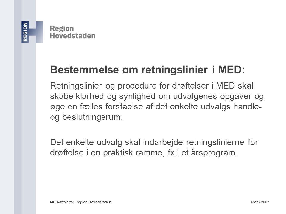 Bestemmelse om retningslinier i MED: