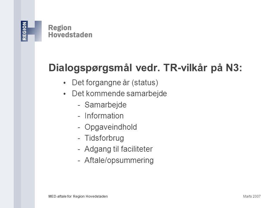 Dialogspørgsmål vedr. TR-vilkår på N3: