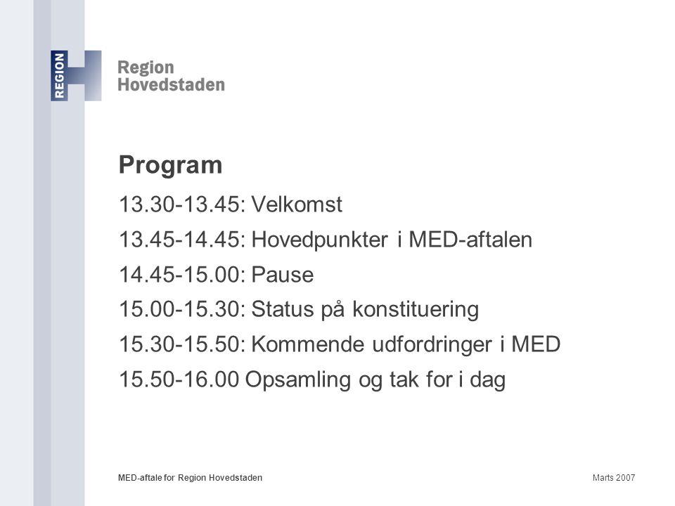 Program 13.30-13.45: Velkomst 13.45-14.45: Hovedpunkter i MED-aftalen