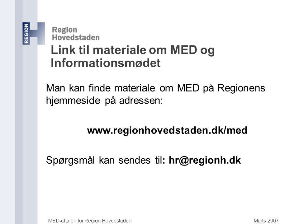 Link til materiale om MED og Informationsmødet