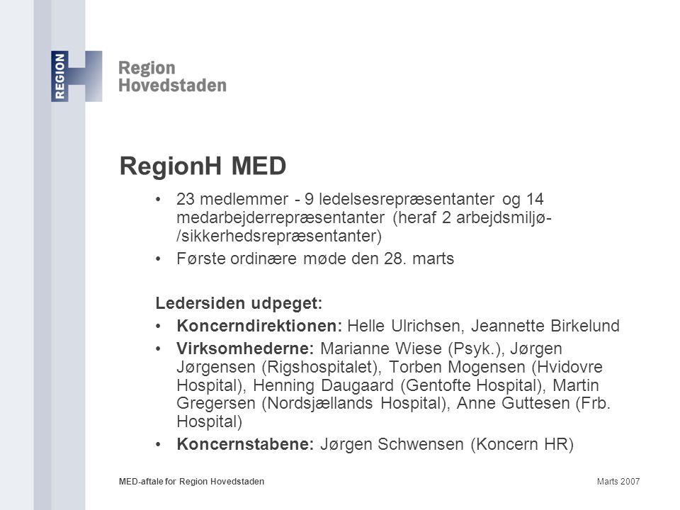 RegionH MED 23 medlemmer - 9 ledelsesrepræsentanter og 14 medarbejderrepræsentanter (heraf 2 arbejdsmiljø-/sikkerhedsrepræsentanter)