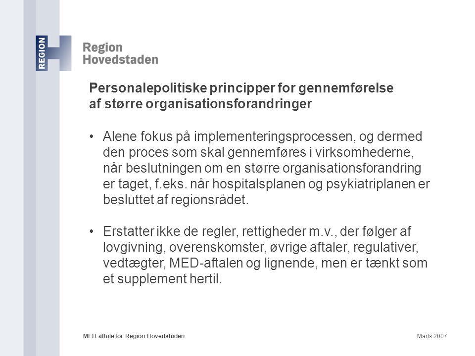 Personalepolitiske principper for gennemførelse af større organisationsforandringer