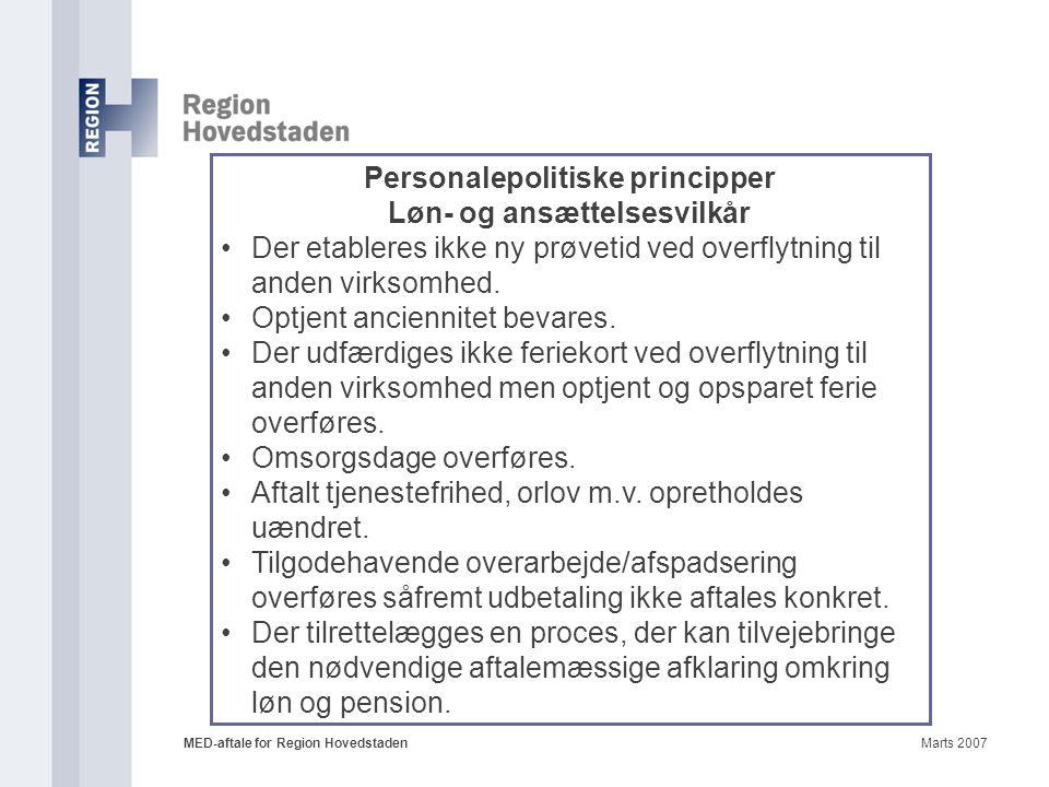 Personalepolitiske principper Løn- og ansættelsesvilkår