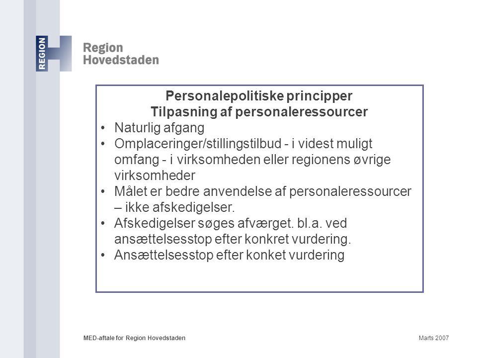 Personalepolitiske principper Tilpasning af personaleressourcer