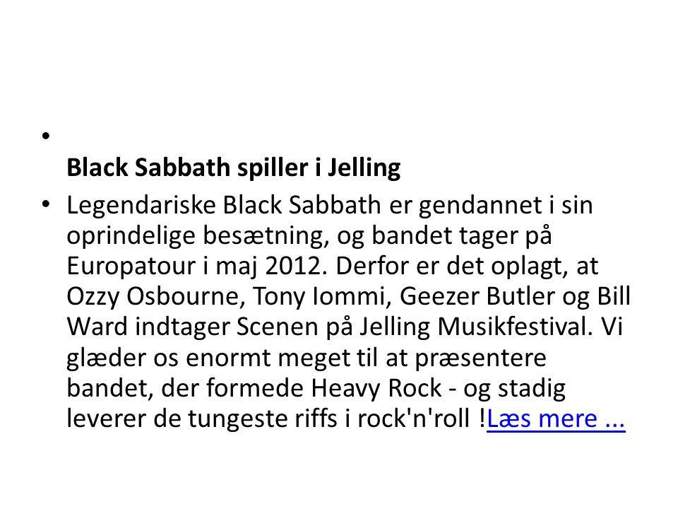 Black Sabbath spiller i Jelling