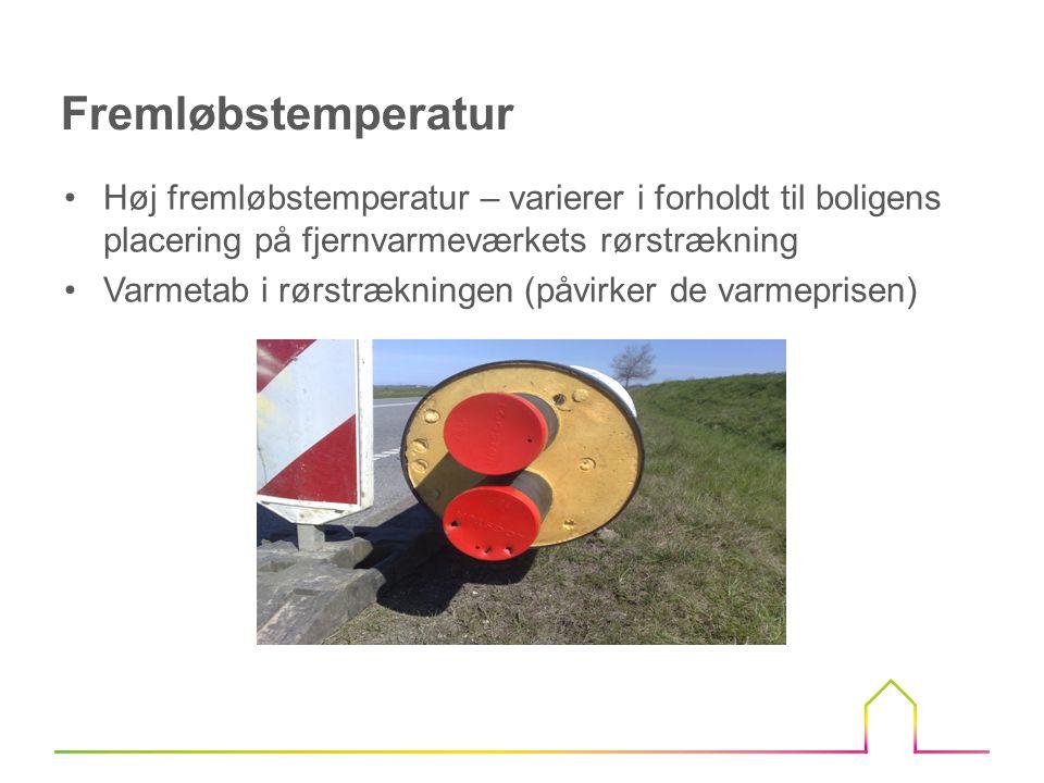 Fremløbstemperatur Høj fremløbstemperatur – varierer i forholdt til boligens placering på fjernvarmeværkets rørstrækning.