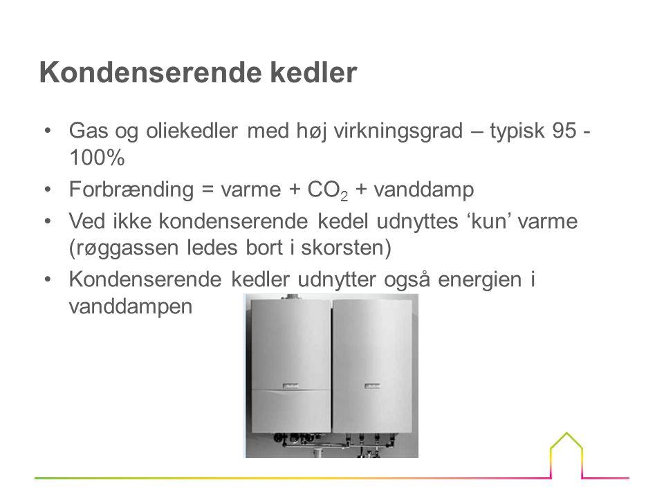 Kondenserende kedler Gas og oliekedler med høj virkningsgrad – typisk 95 - 100% Forbrænding = varme + CO2 + vanddamp.