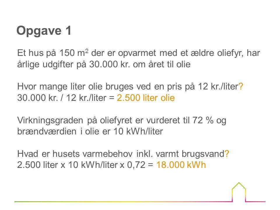 Opgave 1 Et hus på 150 m2 der er opvarmet med et ældre oliefyr, har årlige udgifter på 30.000 kr. om året til olie.