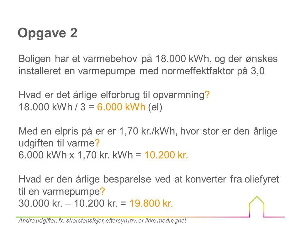 Opgave 2 Boligen har et varmebehov på 18.000 kWh, og der ønskes installeret en varmepumpe med normeffektfaktor på 3,0.