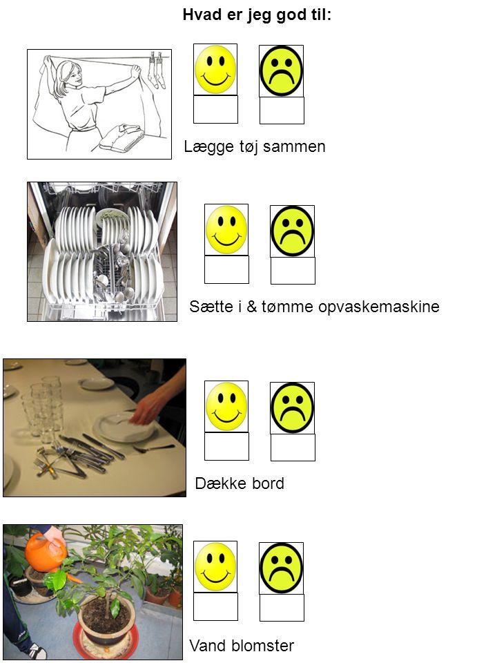 Hvad er jeg god til: Lægge tøj sammen Sætte i & tømme opvaskemaskine Dække bord Vand blomster