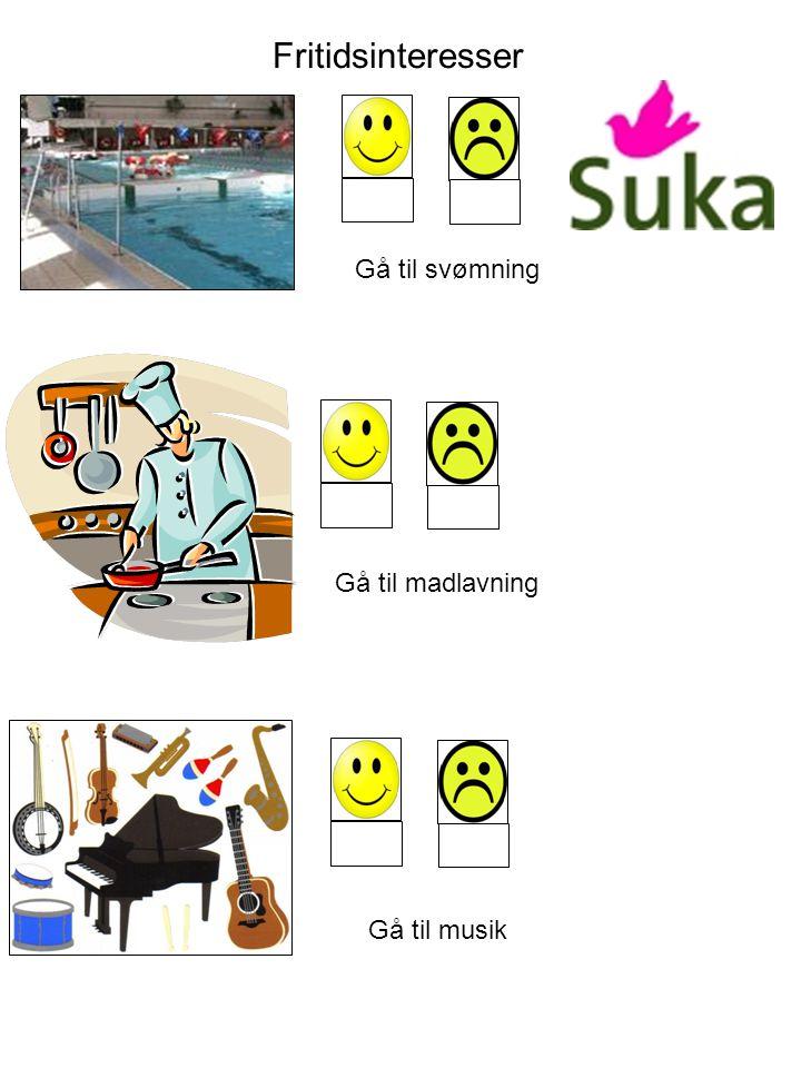 Fritidsinteresser Gå til svømning Gå til madlavning Gå til musik