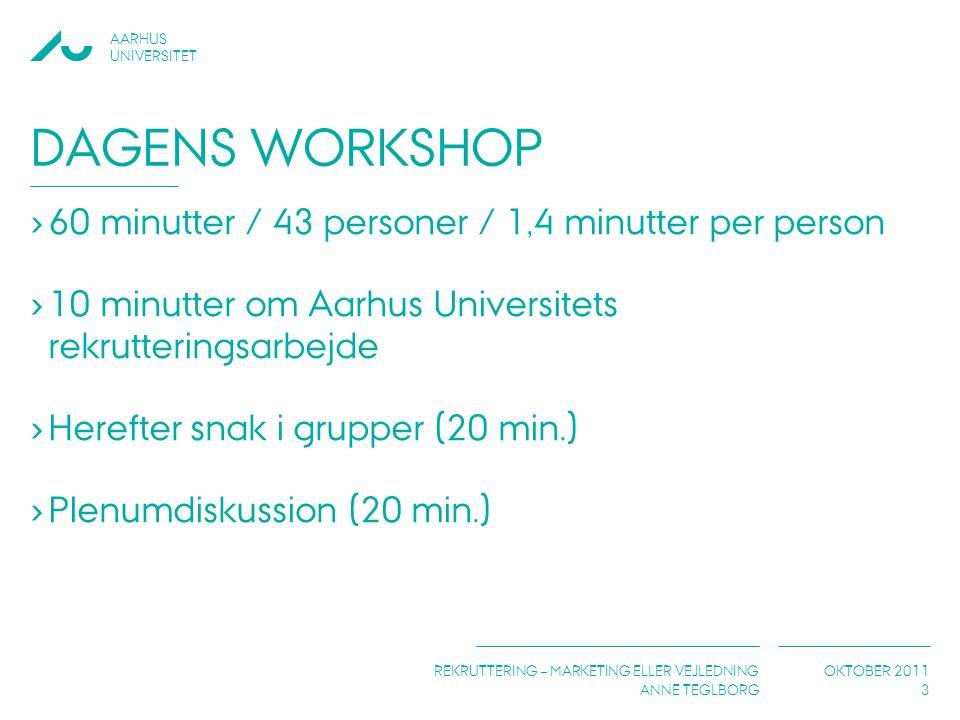Dagens workshop 60 minutter / 43 personer / 1,4 minutter per person