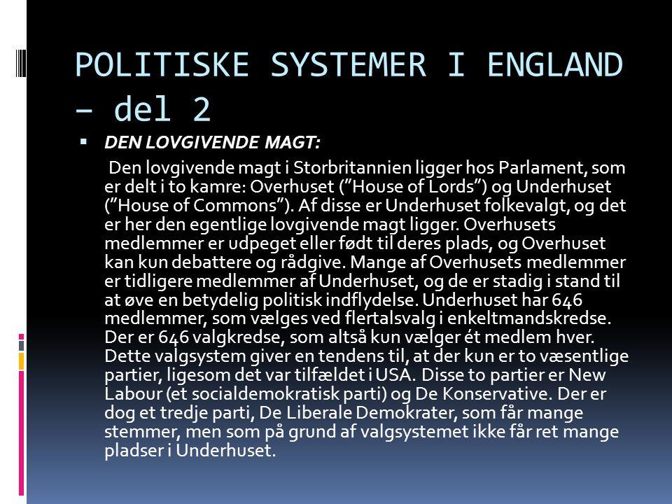 POLITISKE SYSTEMER I ENGLAND – del 2