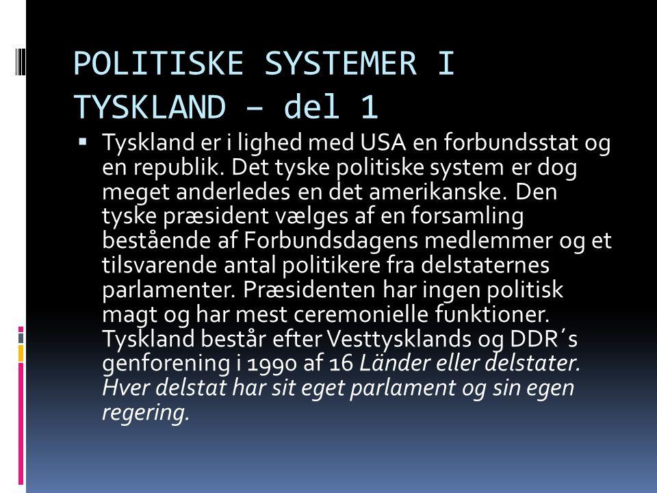 POLITISKE SYSTEMER I TYSKLAND – del 1