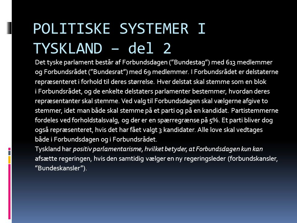 POLITISKE SYSTEMER I TYSKLAND – del 2