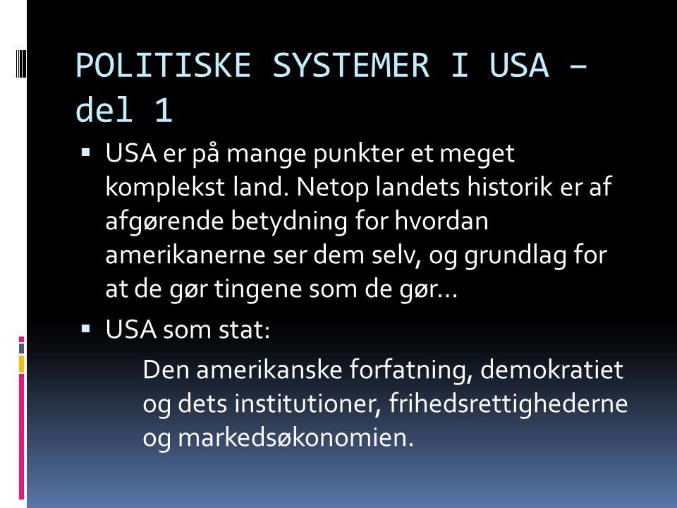 POLITISKE SYSTEMER I USA – del 1