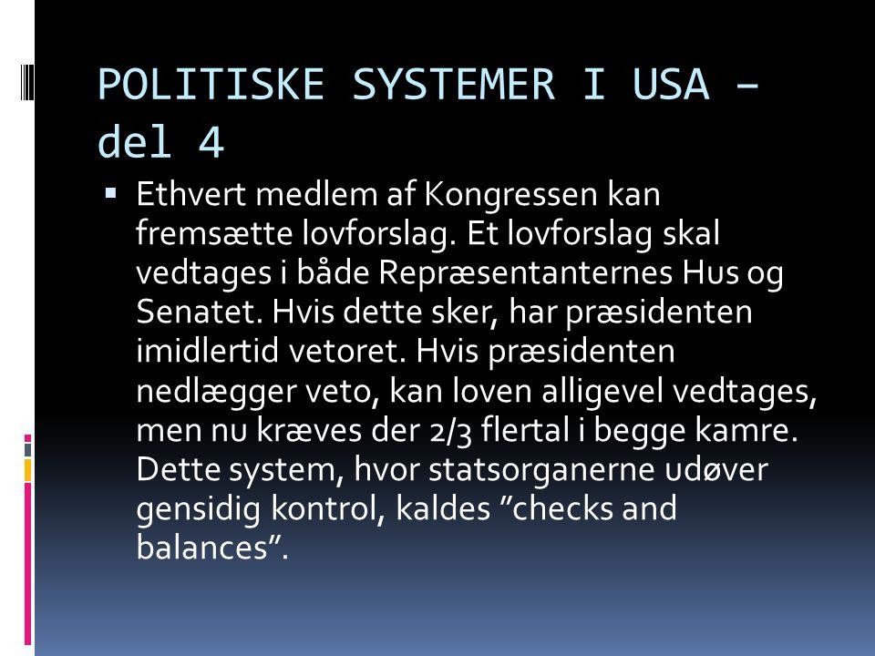 POLITISKE SYSTEMER I USA – del 4