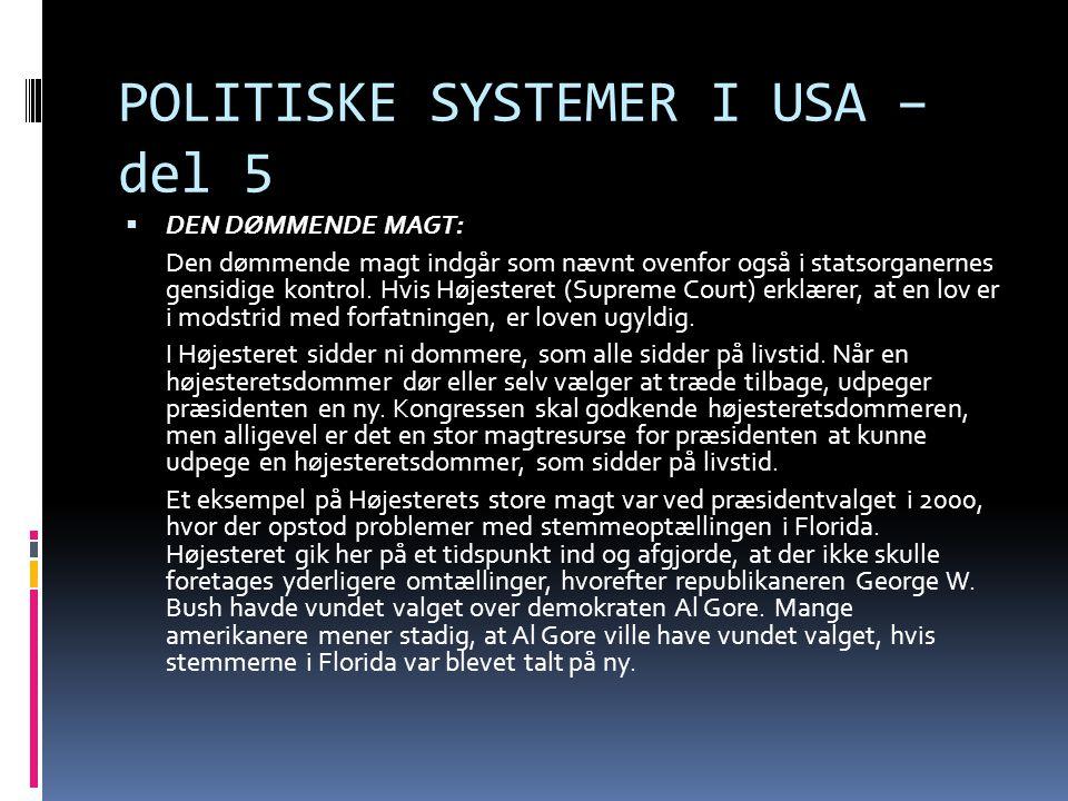 POLITISKE SYSTEMER I USA – del 5