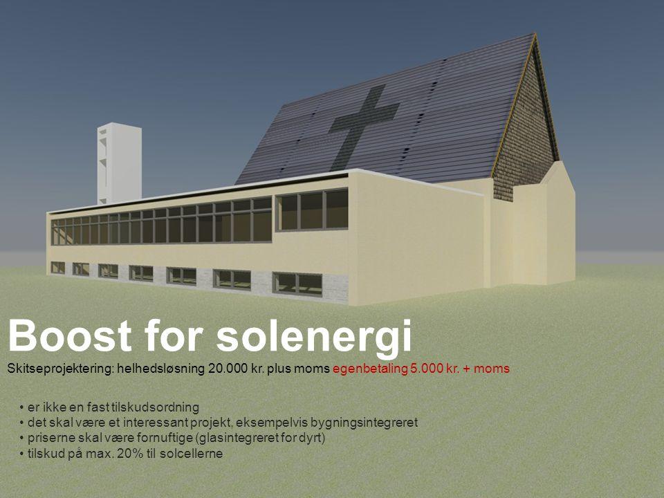 Boost for solenergi Skitseprojektering: helhedsløsning 20. 000 kr
