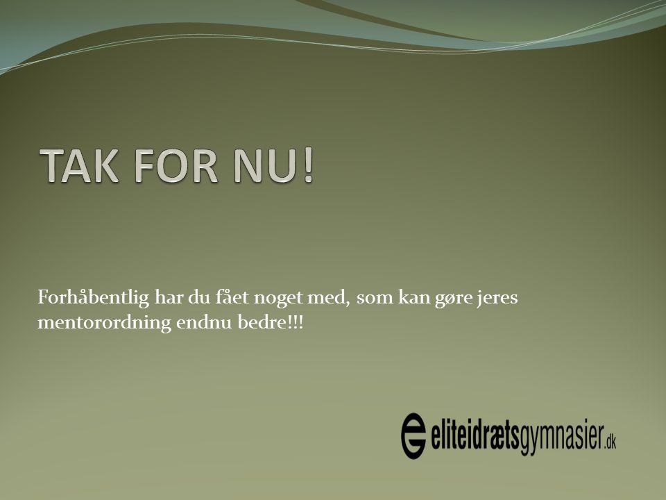 TAK FOR NU! Forhåbentlig har du fået noget med, som kan gøre jeres mentorordning endnu bedre!!!