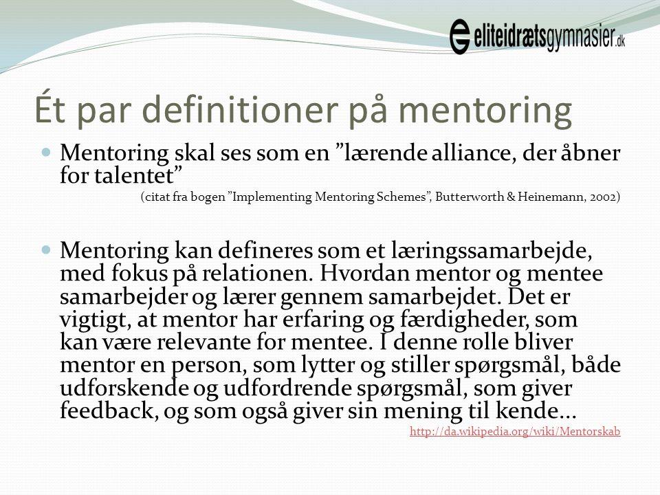 Ét par definitioner på mentoring