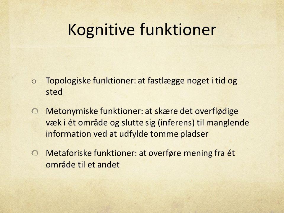 Kognitive funktioner Topologiske funktioner: at fastlægge noget i tid og sted.