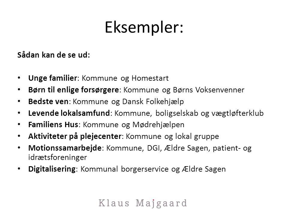 Eksempler: Sådan kan de se ud: Unge familier: Kommune og Homestart