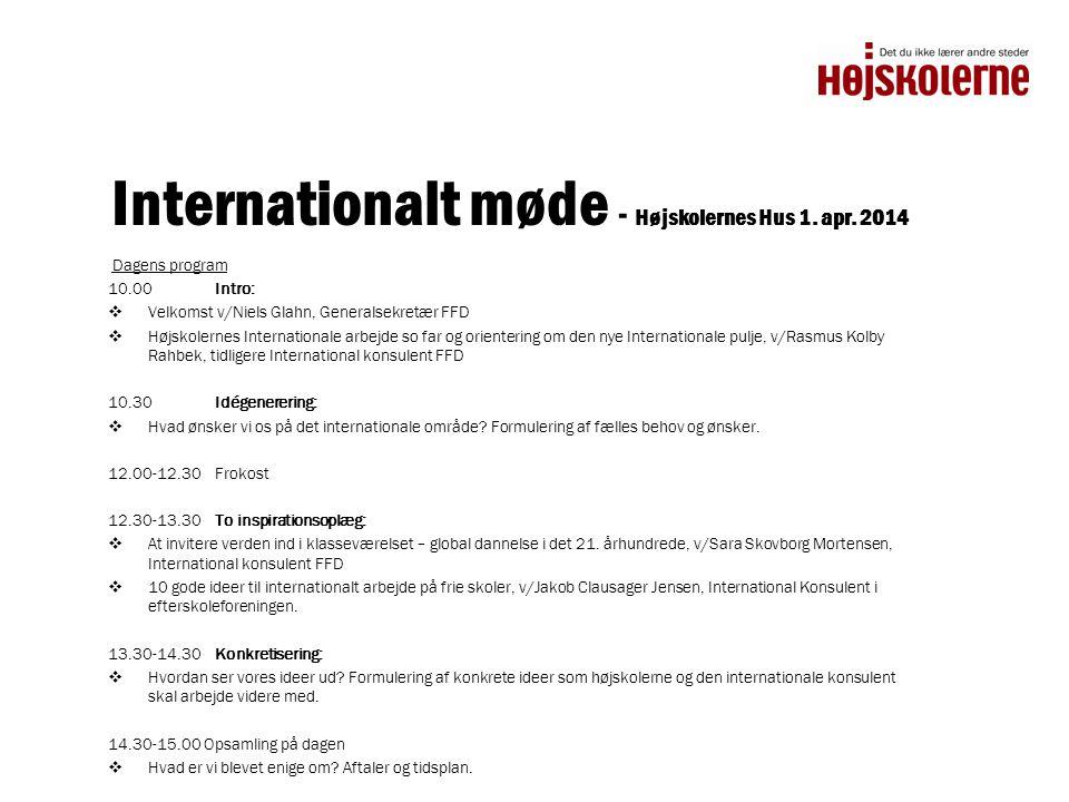 Internationalt møde - Højskolernes Hus 1. apr. 2014