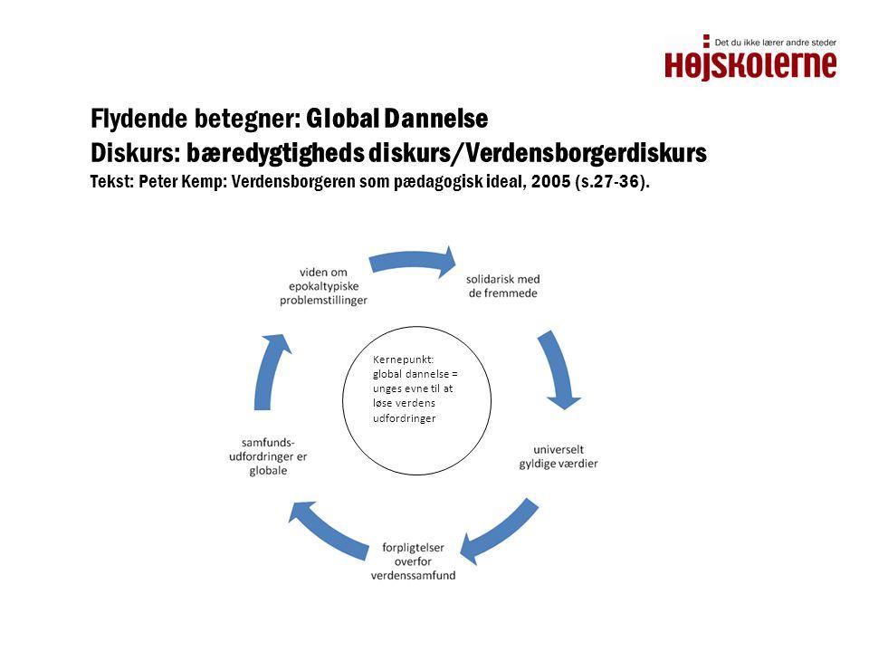 Flydende betegner: Global Dannelse Diskurs: bæredygtigheds diskurs/Verdensborgerdiskurs Tekst: Peter Kemp: Verdensborgeren som pædagogisk ideal, 2005 (s.27-36).