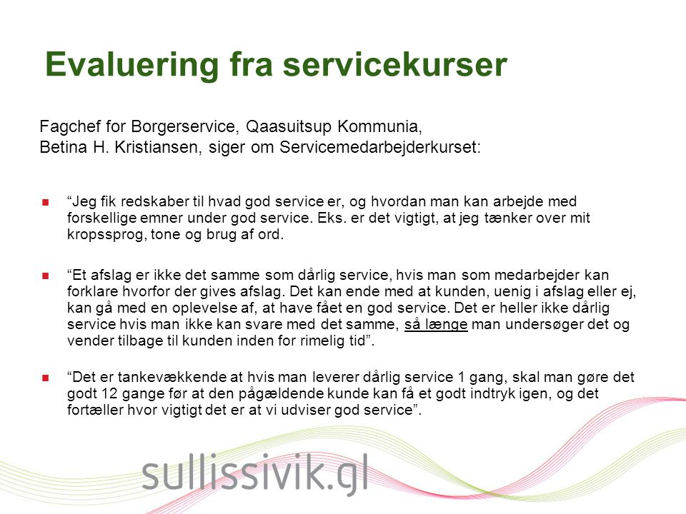Evaluering fra servicekurser