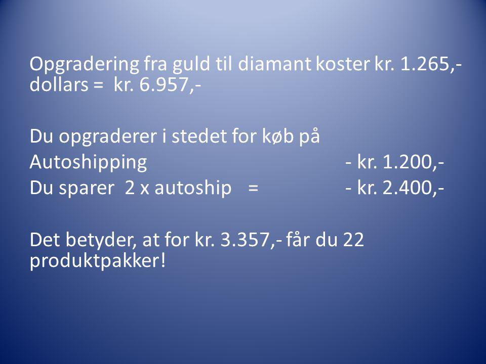 Opgradering fra guld til diamant koster kr. 1. 265,- dollars = kr. 6