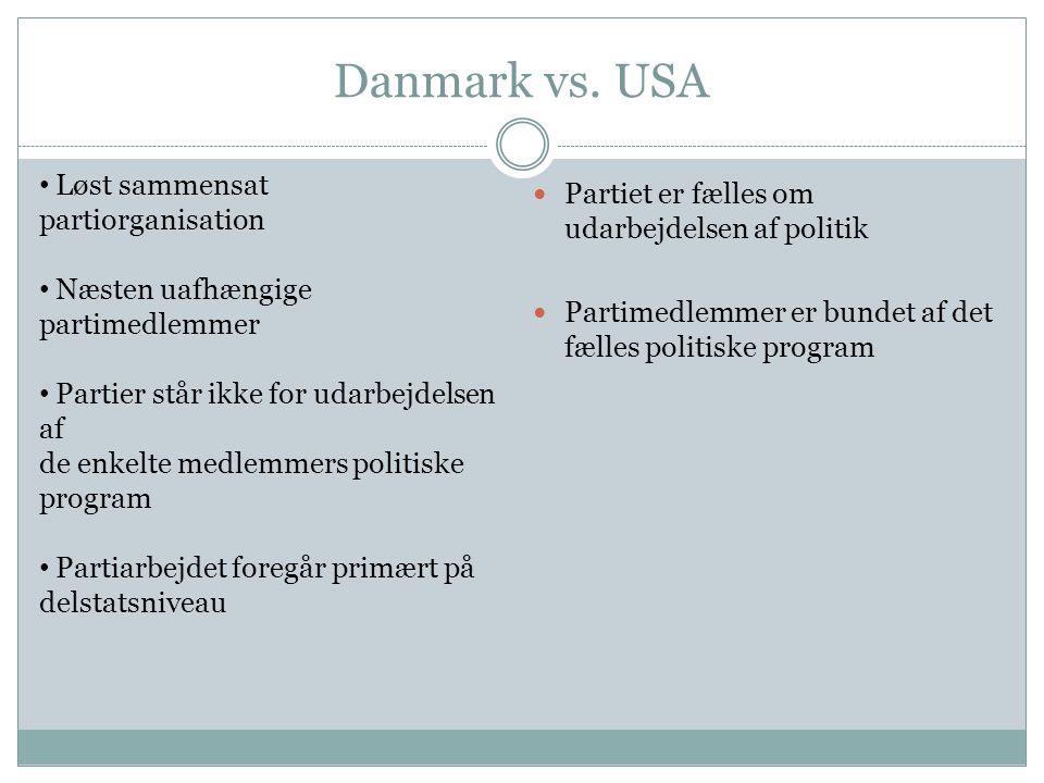 Danmark vs. USA Løst sammensat partiorganisation