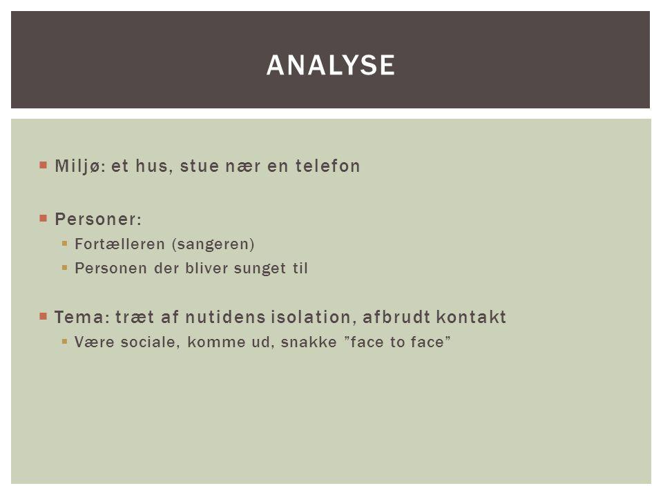 Analyse Miljø: et hus, stue nær en telefon Personer: