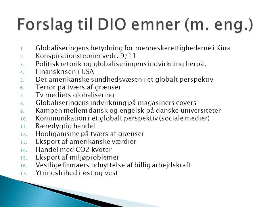 Forslag til DIO emner (m. eng.)