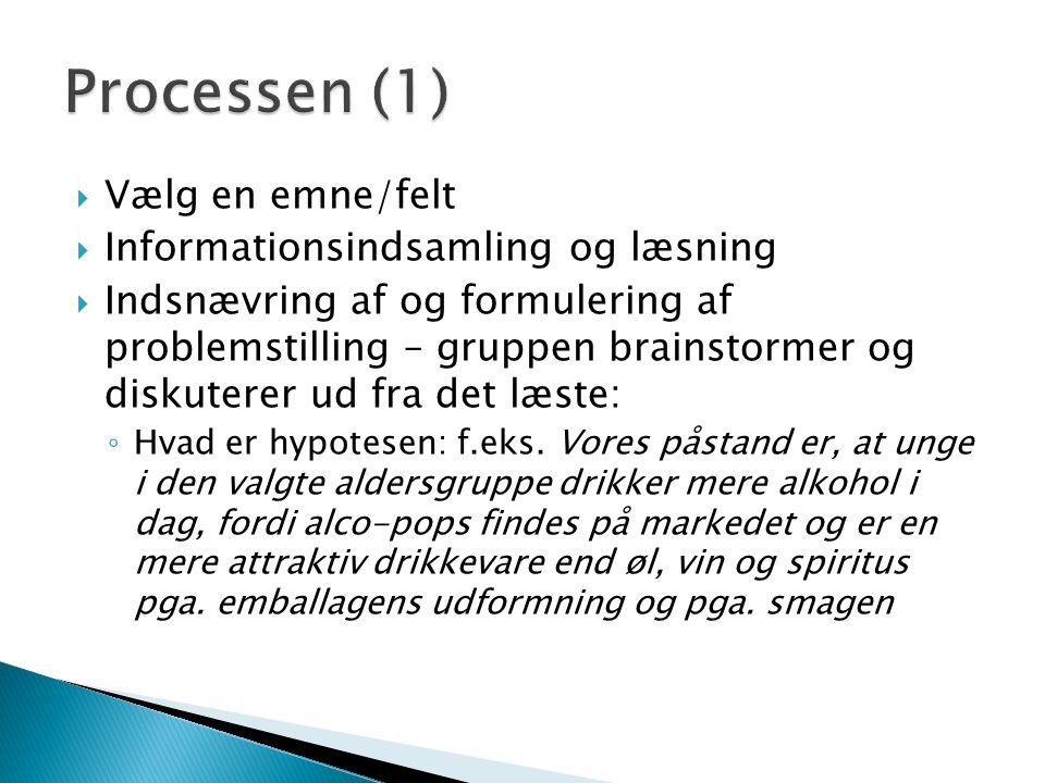 Processen (1) Vælg en emne/felt Informationsindsamling og læsning