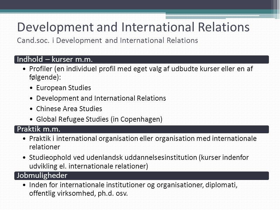 Development and International Relations Cand. soc
