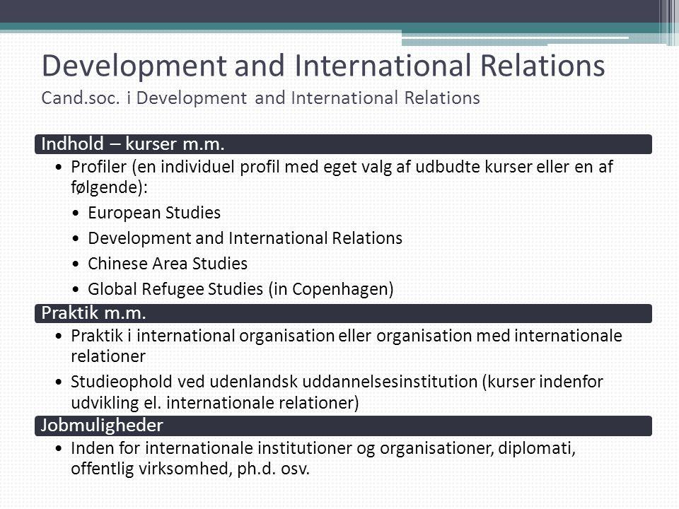 Development and International Relations Cand. soc