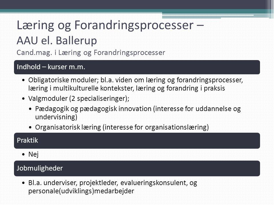 Læring og Forandringsprocesser – AAU el. Ballerup Cand. mag