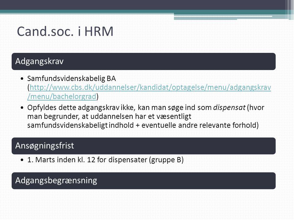Cand.soc. i HRM Adgangskrav Ansøgningsfrist Adgangsbegrænsning