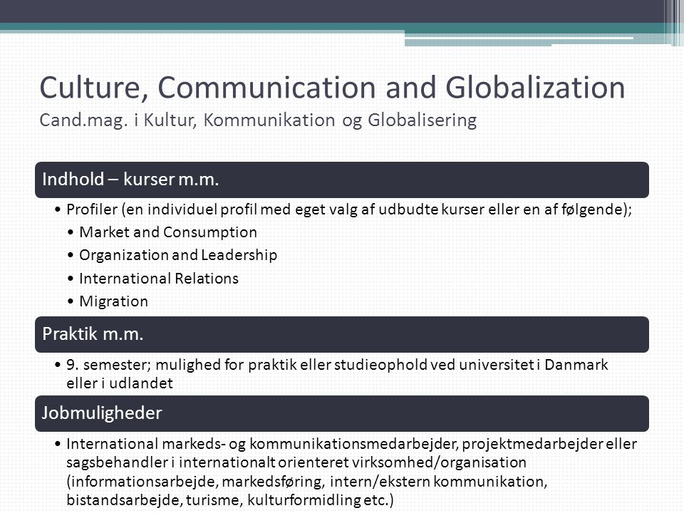 Culture, Communication and Globalization Cand. mag