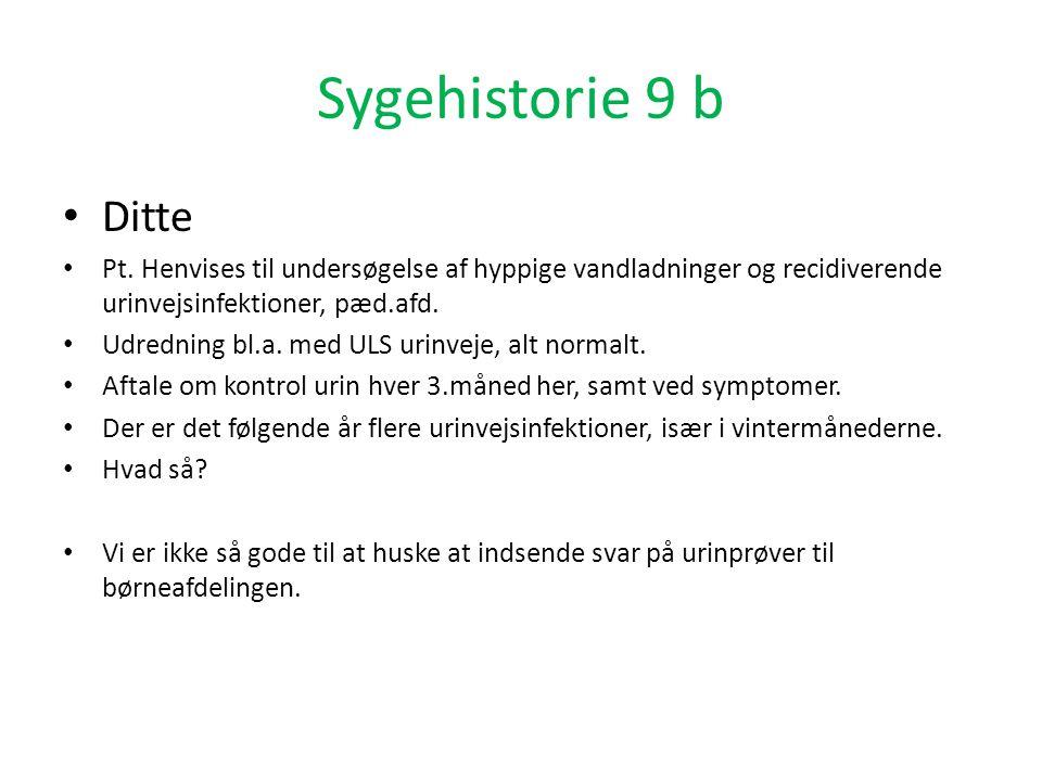 Sygehistorie 9 b Ditte. Pt. Henvises til undersøgelse af hyppige vandladninger og recidiverende urinvejsinfektioner, pæd.afd.