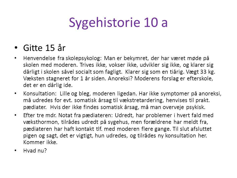 Sygehistorie 10 a Gitte 15 år