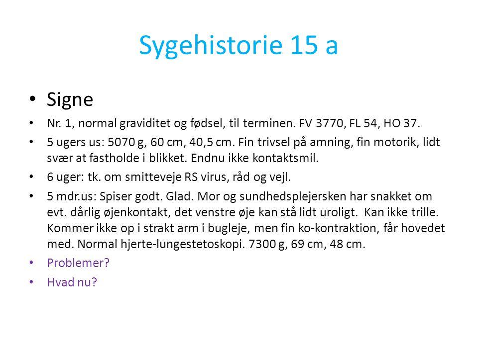 Sygehistorie 15 a Signe. Nr. 1, normal graviditet og fødsel, til terminen. FV 3770, FL 54, HO 37.