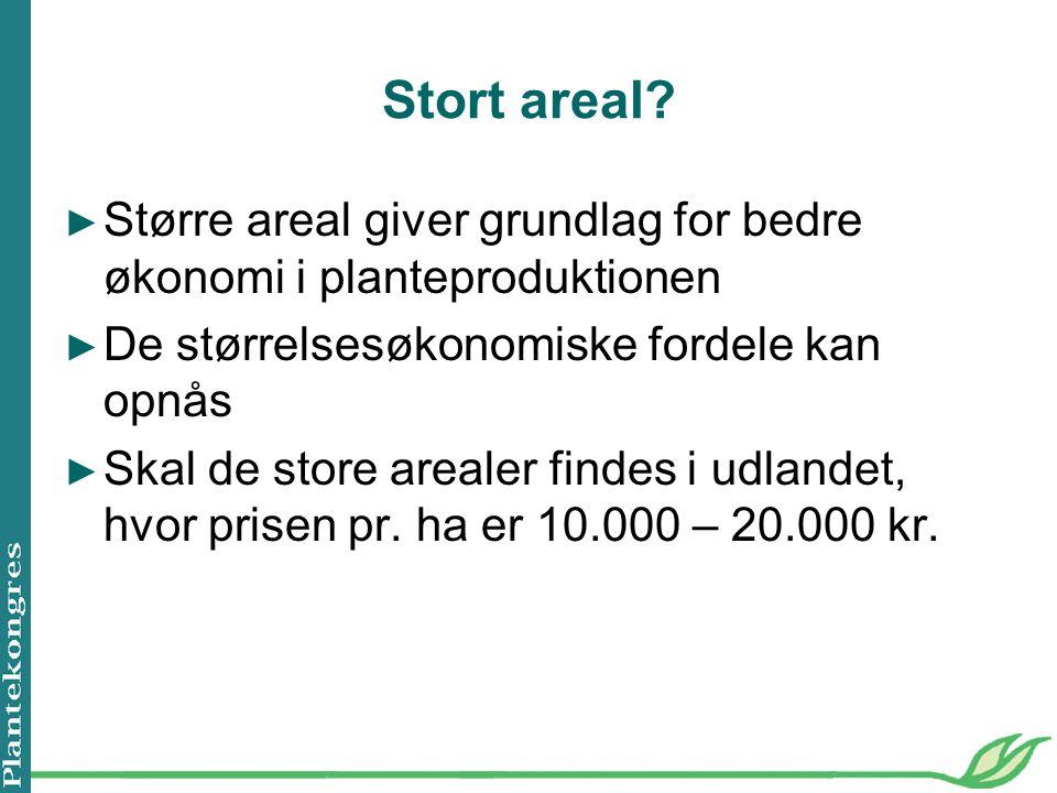 Stort areal Større areal giver grundlag for bedre økonomi i planteproduktionen. De størrelsesøkonomiske fordele kan opnås.