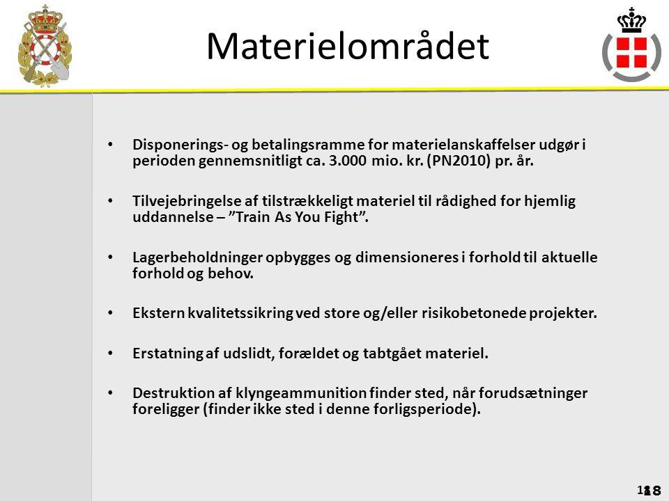 Materielområdet Disponerings- og betalingsramme for materielanskaffelser udgør i perioden gennemsnitligt ca. 3.000 mio. kr. (PN2010) pr. år.
