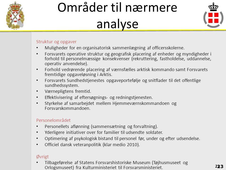 Områder til nærmere analyse