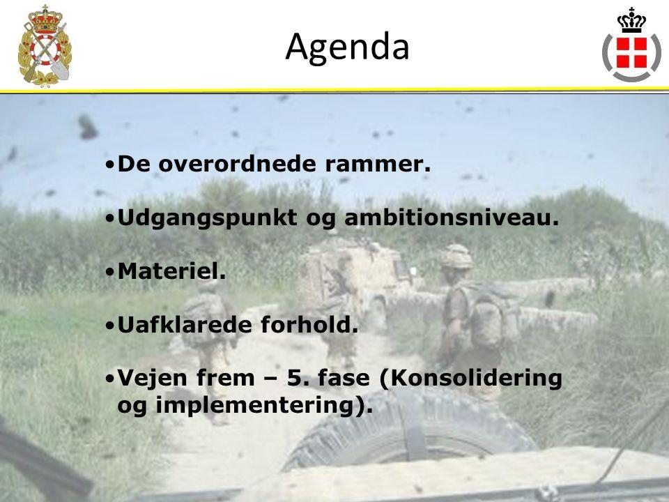 Agenda De overordnede rammer. Udgangspunkt og ambitionsniveau.