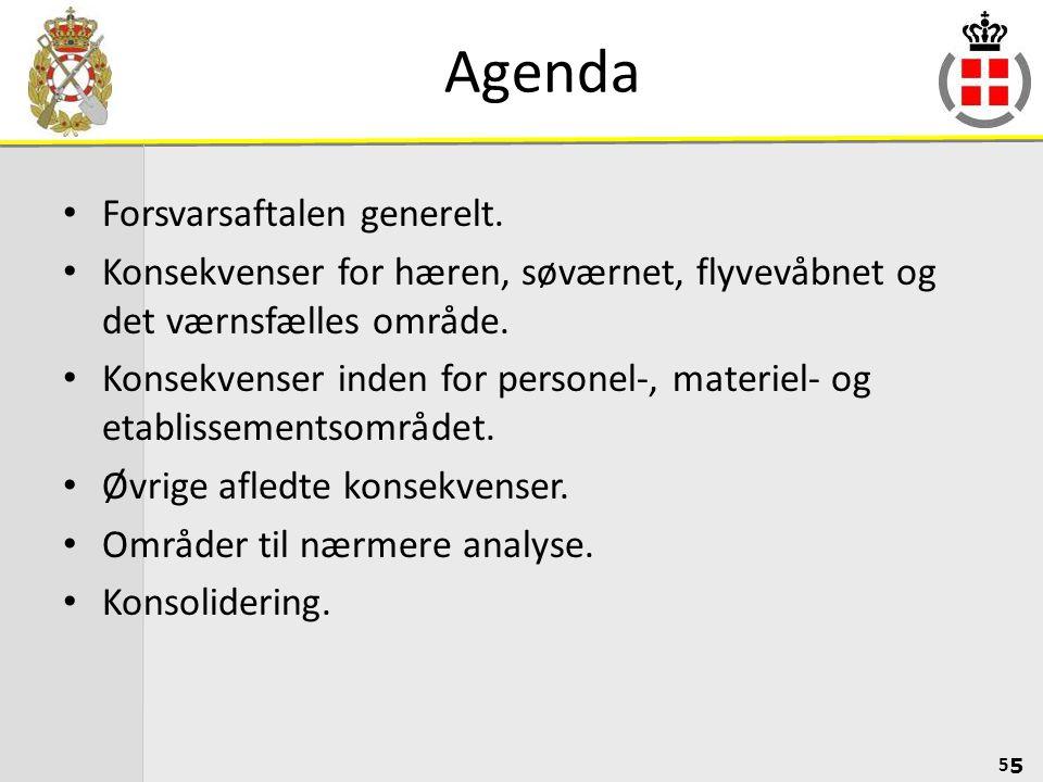 Agenda Forsvarsaftalen generelt.