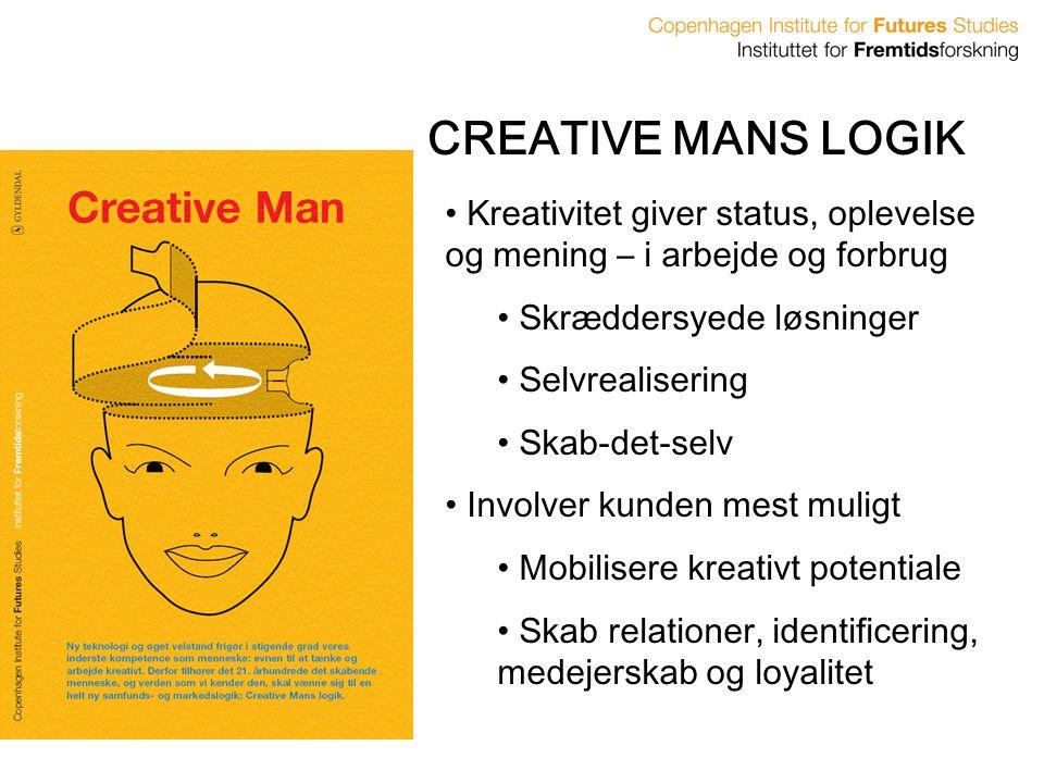 CREATIVE MANS LOGIK Kreativitet giver status, oplevelse og mening – i arbejde og forbrug. Skræddersyede løsninger.